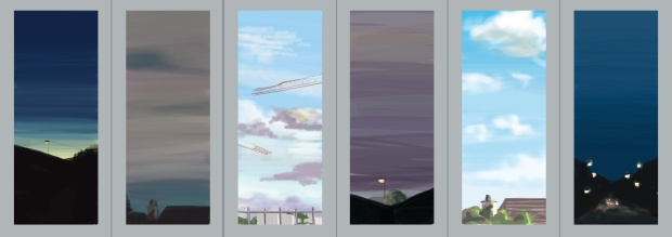 Slies of Sky, iPad digital drawings, panels 34cm x 16cm on brushed aluminium