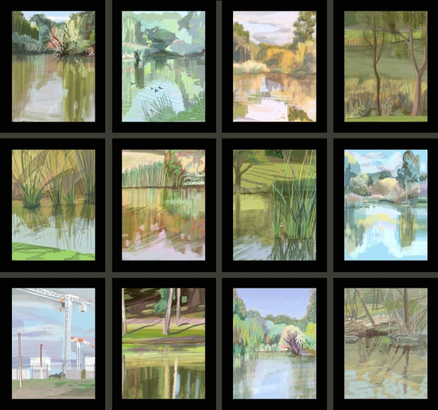 """En Plein air"", 2013. Mp4 on digital photo frames, approx 96cm x 100cm multi panel work."