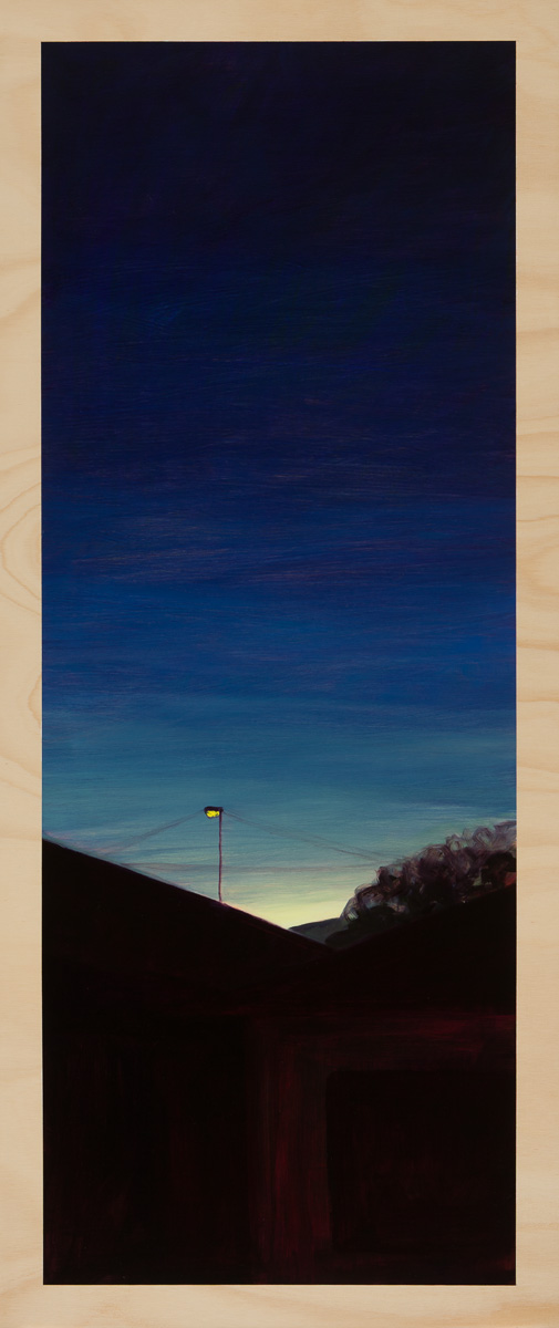 Eveningscape – the last light 2014 Oil on plywood 120cm x 49cm