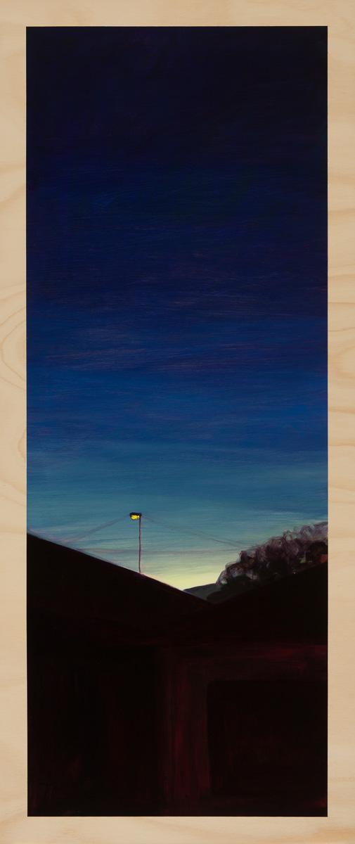Eveningscape – the last light 2014 Oil on plywood 120cm x 49cm