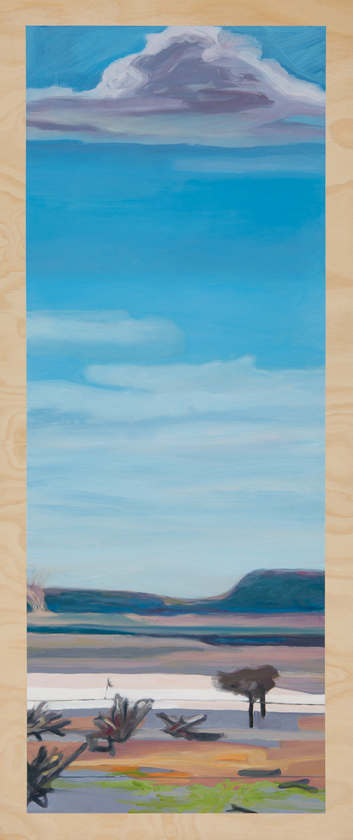 Heatscape with willy-willy 2014 Oil on plywood 120cm x 49cm