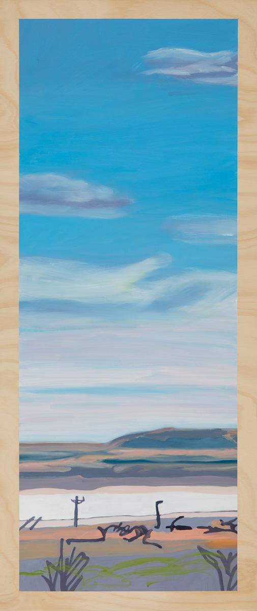 Heatscape with salt lake 2014 Oil on plywood 120cm x 49cm SOLD