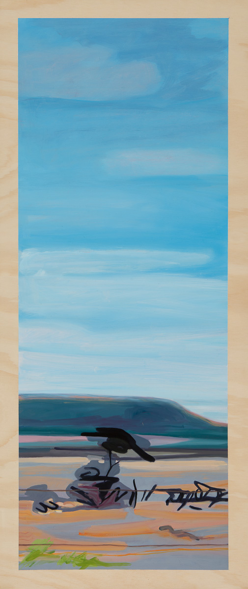 Heatscape with weathered tree 2014 Oil on plywood 120cm x 49cm