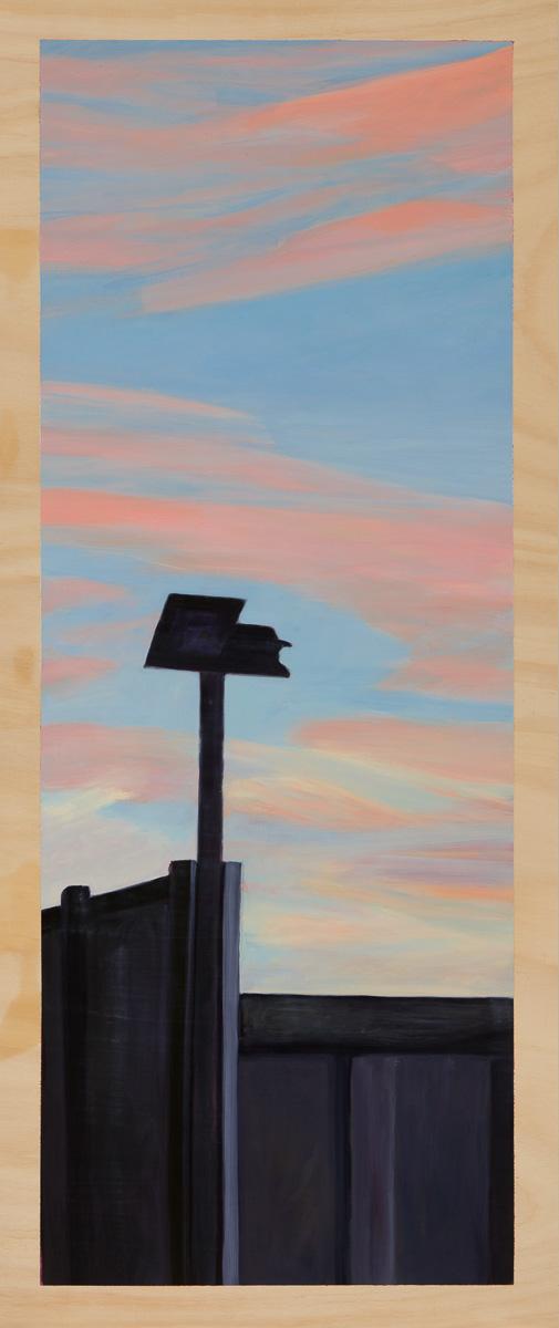 Dawnscape with carpark 2014 Oil on plywood 120cm x 49cm