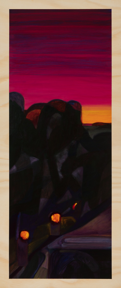 Darkscape and the drive home 2014 Oil on plywood 120cm x 49cm