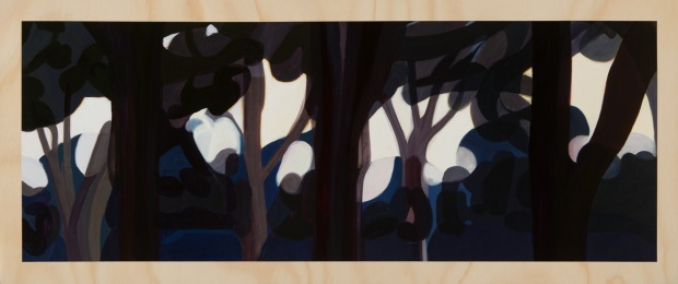 Digiscape – through the trees 2014 Oil on plywood 49cm x 120cm