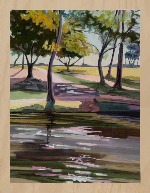 Riverscape with long shadows 2014 Oil on plywood 76cm x 59cm SOLD