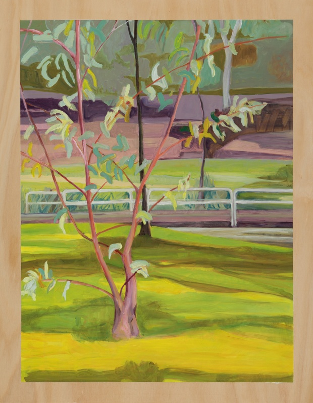 Brightscape with twin tree 2014 Oil on plywood 76cm x 59cm
