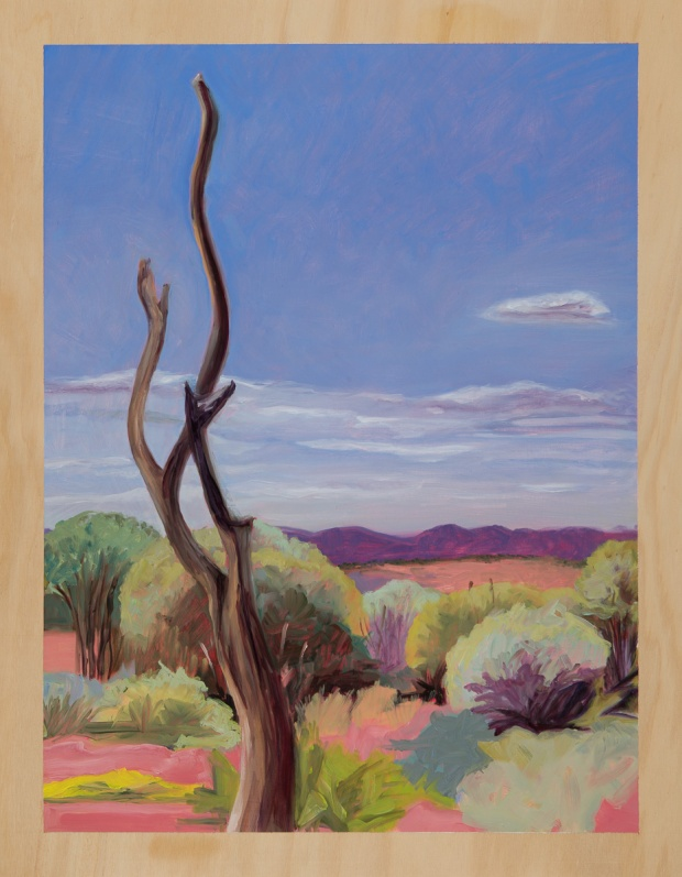 18.Heatscape with naked tree 2014 Oil on plywood 76cm x 59cm SOLD