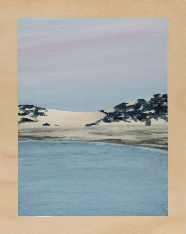 Dunescape in the flat-light stillness 2014 Oil on plywood 38cm x 30cm  SOLD