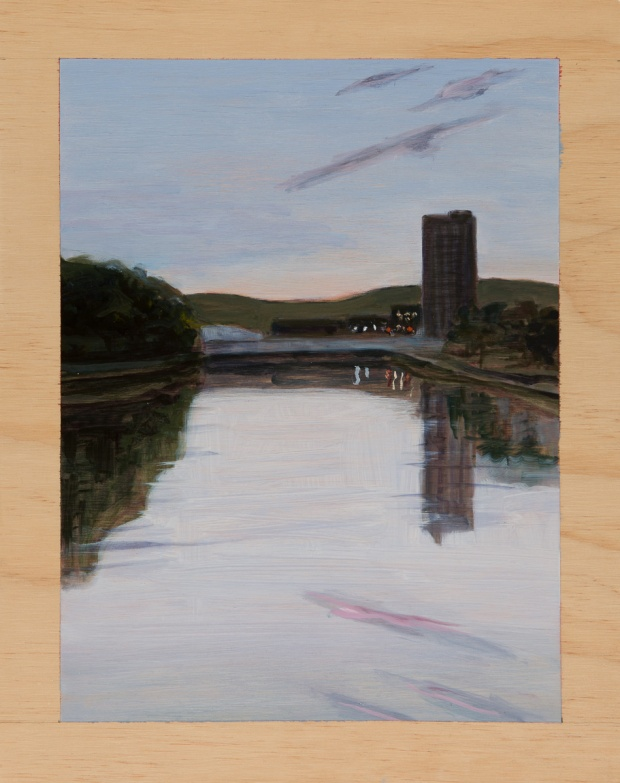 Urbanscape with reflected dawn 2014 Oil on plywood 38cm x 30cm