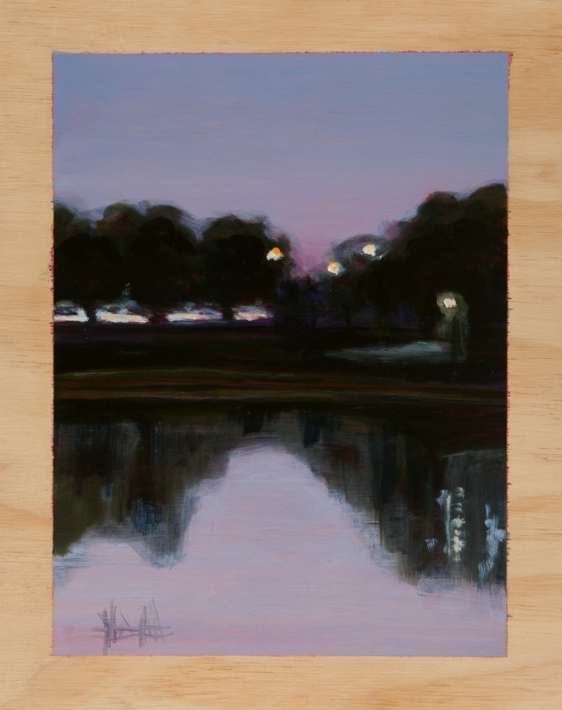 Parkscape in the pre-dawn 2014 Oil on plywood 38cm x 30cm SOLD