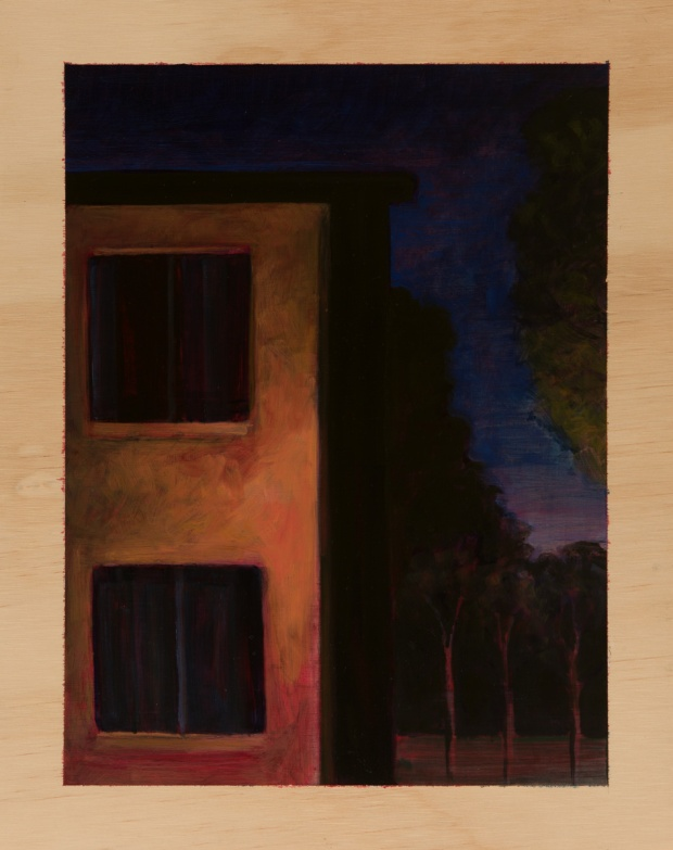 Eveningscape with lit building 2014 Oil on plywood 38cm x 30cm SOLD