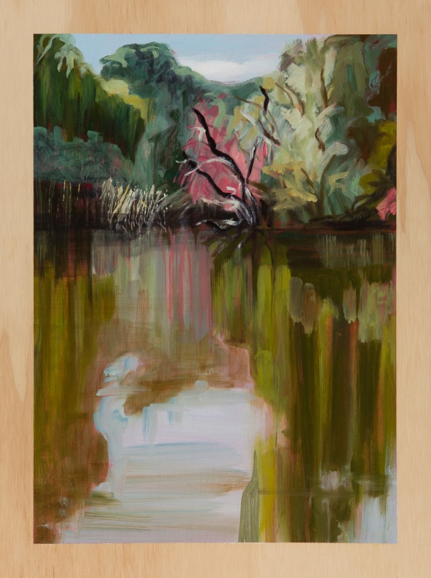 Riverscape with heat and Stillwater reflections 2013 Oil on plywood 40cm x 30cm