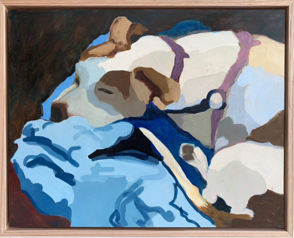 Winnie resting 2020 Oil on board 36cm x 46cm